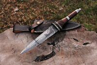 HANDMADE DAMASCUS STEEL BLADE COLLECTIBLE DIRK DAGGER KNIFE,ROSE WOOD HANDLE