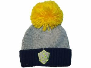 Los Angeles Galaxy Adidas Gray Thick Knit Cuffed Beanie Hat Cap Oversized Poof