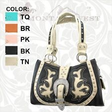 Montana West Buckle Collection Stylish Fashion Handbag Purse - LV-8097 BK