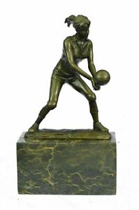 Bronze Cup - Female Volleyball Player - signed Milo Hand Made Sculpture Decor