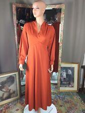 3f8527605d5 Vintage Pumpkin V Neckline Maxi Dress L S Empire Waist Lined Skirt Size 14
