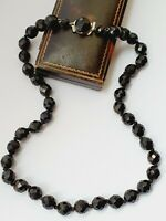 "Art Deco 19"" 1930s Black French Jet Glass Graduated Bead Necklace"