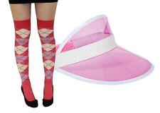 Pub Golf Set Pink Visor & Pink/Purple Diamond Argyle Socks Fancy Dress Unisex