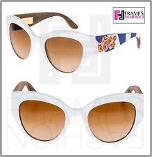 Dolce & Gabbana Sicilian Carreto 4278 White Wood Brown Sunglasses Dg4278 Runway