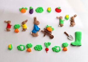 Peter Rabbit, vegetable Birthday, Christening Handmade loose cake decorations,