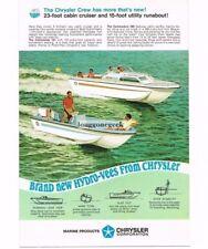 1967 Chrysler 23 Ft. Cabin Cruiser 15 Ft. Runabout Boat Vtg Print Ad
