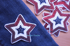 1 Star Sequins Clothing Iron-On Patch Applique, Red White Blue, 7.8 x 7.8 cm