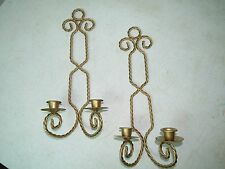 New listing Vintage Home Interiors Set of 2 Gold Twisted Wrought Iron Wall Candle Sconces