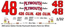 #48 James Hylton Florida Plymoth Dealers1/32nd Scale Slot Car Waterslide Decals