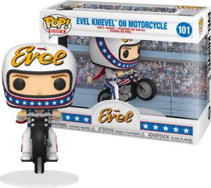 "EVEL KNIEVEL ON MOTORCYCLE 3.75"" POP VINYL FIGURE FUNKO POP RIDES 101 UK SELLER"