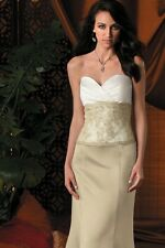 Jordan Catarina 1821 LONG  formal social occasion satin/ lace strapless dress 8