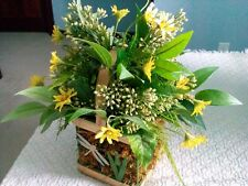 Yellow Flower Arrangement W/Greens in Metal & Wooden Basket Shipped Free 1 Owner