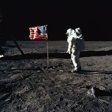 "1969 Apollo 11 EVA Astronaut Edwin E Aldrin Jr with Deployed Flag 4""x6"" Photo"