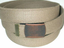 "Canvas BEIGE Military Style Web Fabric Belt INDIANA JONES BUCKLE 50"" x 1 1/4"""