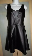 NEW fetish Goth Sexy Little Black dress faux rubber MESH flared stretchy SWOON L