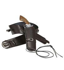 "DELUXE COWBOY SINGLE HOLSTER BROWN ""LEATHER LOOK"" BELT ADULT WESTERN FANCY DRESS"