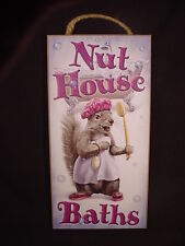 Cute Nut House Baths Wood Squirrel Sign wall hanging Novelty Plaque new Usa Made