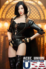 """1/6 Black Widow Leather Costume Set For 12"""" Phicen Hot Toys Female Figure USA"""