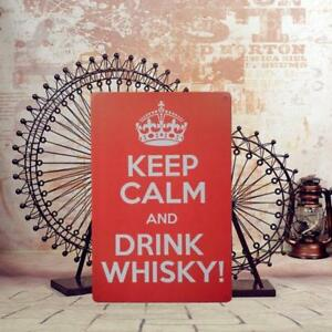 20x30cm Retro Tin Wall Sign Plaque KEEP CALM&WHISKY BEER Pub Bar Wall Poster