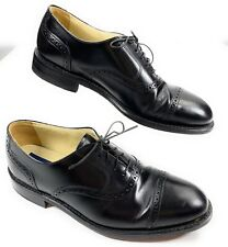 Bostonian Cap Toe Brogue Lace Up Oxford Shoes Black Leather USA Made Men's 9 D/B