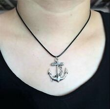 NEW Anchor Boat Pendant Silver Charm Black Necklace Chain Women Fashion Jewelry