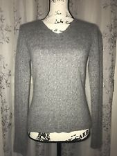 Kirkland 2-Ply 100% Cashmere Gray Cable Knit V-Neck Sweater Long Sleeves Size S