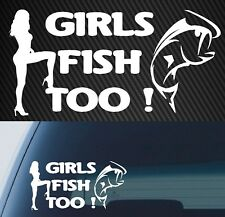 fishing boat tackle reel DECAL girl chick 4x4 CAR ute sticker