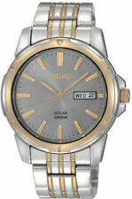 Seiko Men's SNE098 Solar Power Stainless Steel Two-Tone Charcoal Dial Watch NEW