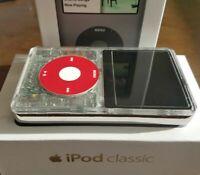 Apple iPod Classic video CLEAR WHITE!- Thin Back (256gb) SSD w 3000mAh Battery