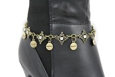 Chain Bling Anklet Happy Charm Rhinestone Women Boot Bracelet Antique Gold Metal
