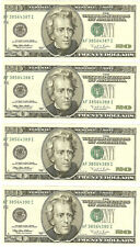"1996 $20.00 Federal Reserve Error Notes ""Major Misalignment""  4 Pieces  CH CU"