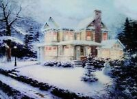 Christmas Led Canvas Illuminated House in Snow Canvas Picture 40 x 30cm