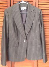 Jones New York Women's Taupe Brown Pinstripe Career Blazer Suit Jacket Size 4
