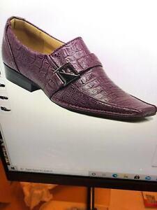 Men's Faux Leather Dress Shoes Loafers Elastic Slip On Crocodile Buckle Runs Big