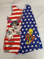 Vintage Looney Tunes Cotton One Piece Overall Tweety Bird Bugs Bunny Girls 10