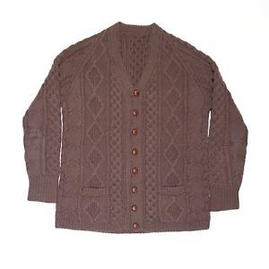 Vintage Brown Regular V-Neck Wool Heavy Knit Aran Cardigan Mens M