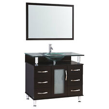 "36"" Espresso Vanity Cabinet LV1-36B with Sink Glass Top and Mirror by LessCare"