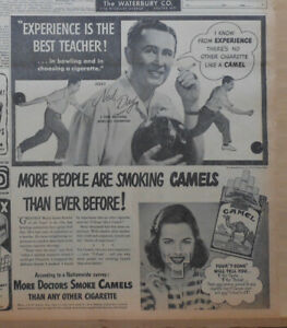 1947 newspaper ad for Camels - 5-Time National Bowling Champion Ned Day
