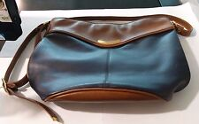 Capezio Purse Faux Leather Tan and Navy Blue with Strap