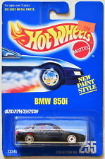 HOT WHEELS 1991 BLUE CARD BMW 850I #255 W/ UH CHROME WHEELS 04