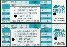 2 Rare Rod Stewart Miller Draft Beer Concert Tickets Oct 17th 1993 Greek Theatre