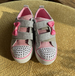 NEW Skechers Shoes Sneakers Twinkle Toes (Crystal Stars) Pink Gray Size 1
