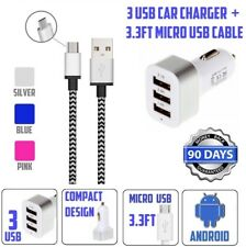 Three USB Universal CAR CHARGER 3 Port Adapter 4.1A Triple USB + MIcro USB Cable