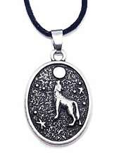 Howling Wolf Moon Pendant Triquetra Fenris Protection Oval Corded Necklace