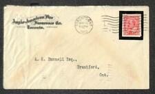 CANADA SCOTT #90 KING EDWARD VII STAMP COLLAR MOURNING FIRE INSURANCE COVER 1910