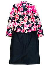 Le Suit Women Size 8 Medium Black Floral 2 Pc Lined Blazer Set