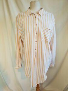 Ladies Linen Shirt Pastel Orange Stripe, Linen by F&F, UK 18, Long Sleeve 1078