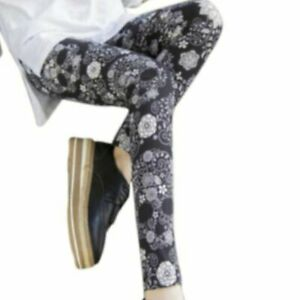 Small Black Skull & Floral Leggings