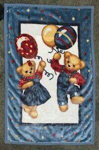 Vintage Blue Jean Teddy Bear Boy & Girl Baby Blanket Overalls & Balloons