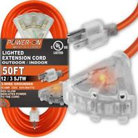 50 Feet 3 Outlet 12/3 SJTW Outdoor Extension Cord - UL Listed; 15A 125V 1875W